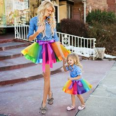 e0da159705 New Fashion Kids Mother and Daughter Summer Rainbow High Waist Tutu Skirt  Party Matching Outfits #