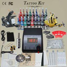2 Cast Iron Guns Tattoo Kit with LCD Power Supply/ 28 inks/needles