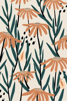 Brown daisy patterned beige background vector | premium image by rawpixel.com