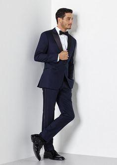 Midnight Blue Satin Lapel Tuxedo from The Black Tux #groom #tuxedo #suit