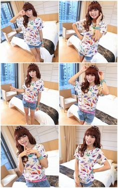 Short Sleeve Casual Chiffon Blouse: Bird print