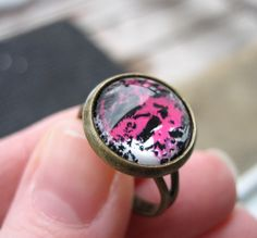 #Abstract #Pink #Brass #Ring. Adjustable Band - CANDIE - #Costume Jewlery #handmade #thecraftstar $9.50
