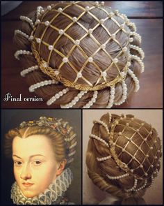 Renaissance Hairstyles, Historical Hairstyles, Historical Costume, Historical Clothing, Vintage Hairstyles, Wig Hairstyles, Updo Hairstyle, 1500s Fashion, Mode Renaissance