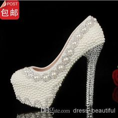 Wholesale Bridal Accessories - Buy Fashion Round Toe Pearl Crystal Beaded Wedding Shoes Women's High Heels Bridal Evening Prom Party Bridesmaid Shoes, $113.96 | DHgate