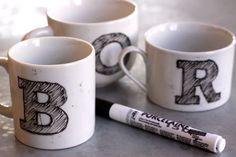 DIY monogram mugs tutorial. MUST CREATE!
