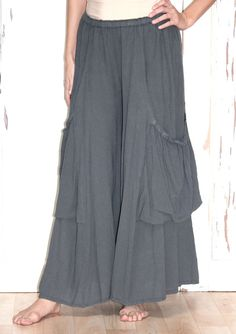 OH MY GAUZE Cotton Lagenlook ELLEN Palazzo Pocket Pant OS  M/L/XL/1X/2X GRAPHITE #OHMYGAUZE #PalazzoPocketPant
