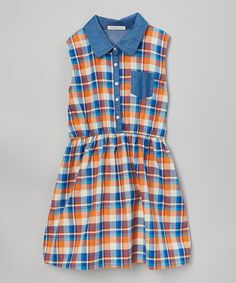 Look at this #zulilyfind! Orange Plaid Pocket Dress - Girls #zulilyfinds