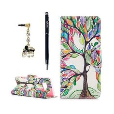 COLORFUL-TREE-New-Flip-Kicksand-Phone-Case-Holder-Accessories-For-Galaxy-Note-8 Samsung Galaxy Note 8, Galaxy S8, Leather Case, Pu Leather, Dust Plug, Cellphone Case, Phone Cases, Colorful Trees, Design Case