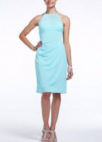A stylish, short and chic bridesmaid dress that is a flattering look from the bridal party to a cocktail party! Sleeveless bodice features round illusion mesh neckline. Ultra-feminine body con fit with side cascade and back ruching finishes off the look. Fully lined. Back zip. Imported polyester. Dry clean. To protect your dress, try our Non Woven Garment Bag.A sheer net fabric commonly used on sleeves or necklines.