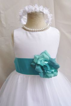 Flower Girl Bridesmaids Teal /& Canary Spaghetti Strap White Petal Dress #38