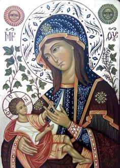 Hodegetria is an icon illustrating St. Mary holding the Christ child on her side while gesturing to Him as our source of salvation. Religious Images, Religious Icons, Religious Art, Immaculée Conception, Images Of Mary, Queen Of Heaven, Mama Mary, Blessed Mother Mary, Mary And Jesus