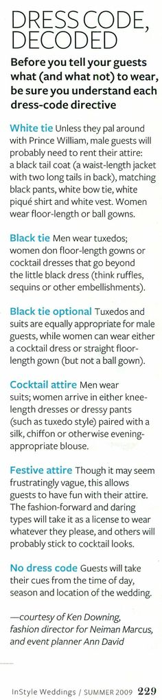 Wedding dress codes decoded