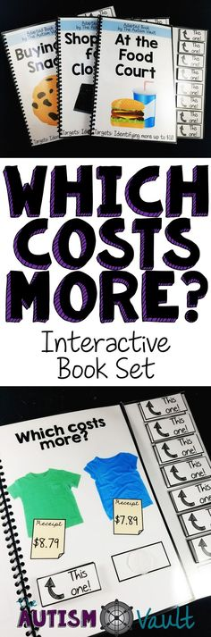 Here is a set of 3 adapted/interactive books to practice comparing money amounts. Students can practice identifying which items cost more with these 10 page, color interactive books. Each books targets a different level of learning to compare money, so th Life Skills Lessons, Life Skills Activities, Life Skills Classroom, Teaching Life Skills, Autism Classroom, Special Education Classroom, Classroom Activities, Teaching Tools, Teaching Math