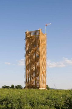 Scholzberg tower – Vertical storage of the wood in the form of a tower by e-MRAK – Martin Rajniš, Jan Mach - ArchShowcase Urban Landscape, Landscape Design, Public Space Design, Public Spaces, Lookout Tower, Vertical Storage, Loire, Wood Blocks, Skyscraper