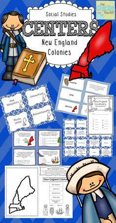 New England Colonies Social Studies Centers. Great resource with task cards, matching game and more!