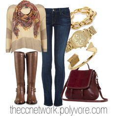 """Comfortable Fall Outfit with Arm Candy"" by theccnetwork on Polyvore"
