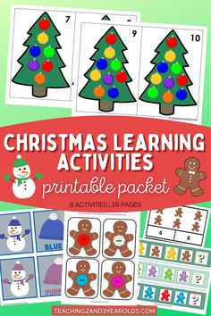 Preschool Christmas Learning Activities - 39 Pages of Hands-On Printables! #printables #Christmas #activities #learning #preschool #teaching2and3yearolds