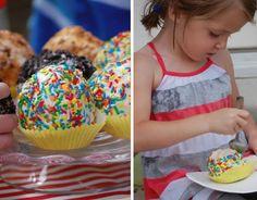 ice cream balls (rolls into balls, freeze, rolls in chocolate/sprinkles, freeze) - ice cream