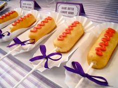 Twinkies as corndogs. Perfect for baseball themed party. This is HILARIOUS and would be SO easy!!