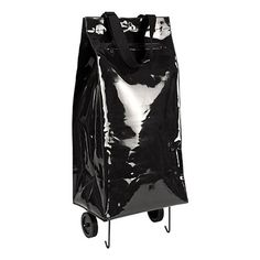 black patent leather shopping cart