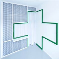 Polish architect Adam Wiercinski converted an old tenement building to create a denture clinic with green cross interior for Polish company Dent Protetyka. Design Clinique, Dental Technician, Interior Architecture, Interior Design, Healthcare Architecture, Timber Panelling, Clinic Design, Glass Partition, Treatment Rooms