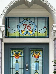 Interiors: A grander entrance Restore period details on your front door – Art Deco house number by Purlfrost. Stained Glass Door, Stained Glass Designs, Stained Glass Panels, Stained Glass Projects, Stained Glass Patterns, Leaded Glass, Mosaic Glass, Art Nouveau, L'art Du Vitrail