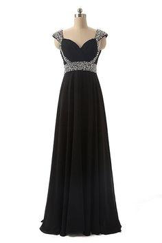 V-neck Long Chiffon Prom Dress, Cocktail Dress, Ball Gown - Thumbnail 2