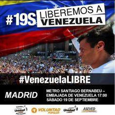 Los partidos de la Unidad invitan en Madrid una concentración ester Domingo en las cercanías de la Embajada de Venezuela en Madrid . #VenezolanosenMadrid