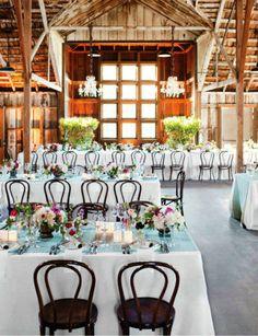 Barn Wedding Reception, Chandeliers