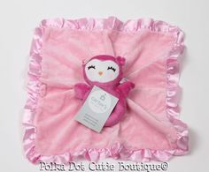 7ffa149b Carter's Pink Owl Rattle and Security Blanket Satin Back for sale online    eBay