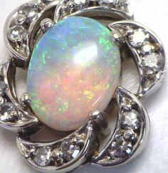 FIERY 14KWG Opal & Diamond Estate Pendant