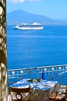 A table with a view...at Hotel Bellevue Syrene in Sorrento, Italy