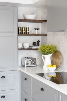 New kitchen corner shelves cabinets cupboards ideas Kitchen Corner Cupboard, Kitchen Storage, Corner Cabinets, Cabinet Storage, Corner Sink, Corner Wall, Ikea Kitchen Shelves, Cupboard Ideas, Wall Cupboards