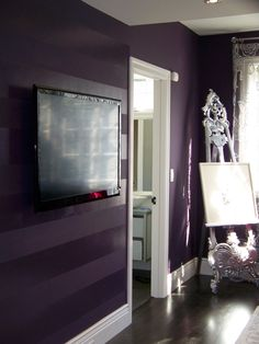 matte/high gloss deep purple walls, this would look awesome in navy too.