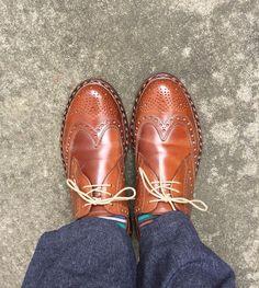 Heinrich Dinkelacker 久しぶりに履きましたこれから買い物です #heinrichdinkelacker #cordovan #whiskycordovan #shoes #ハインリッヒディンケラッカー #ハインリッヒディンケルアッカー #コードバン #ウイスキーコードバン #紳士靴 #革靴