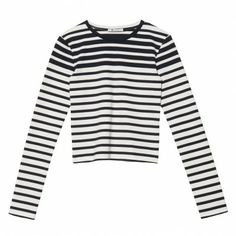 Long sleeve crew neck striped tee. 98% Cotton, 2% Spandex. Machine Wash. Imported. Model wears size Small. Sizes XS-M. Color: Ink/White
