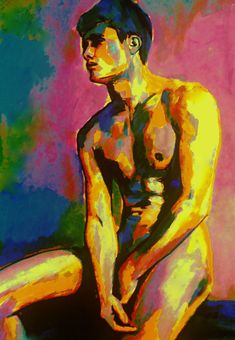"""""""Thoughtful boy"""" - Painting, 45x63x2.5 cm ©2016 by Helenka - Abstract Art, Contemporary painting, Expressionism, Fauvism, Figurative Art, Portraiture, Canvas, Abstract Art, Body, Colors, Men, Nude, People, Portraits, nudes paintings for sale, affordable original art, bold colors, man, men, boy, male nud..."""