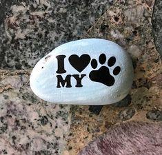 Natural Handmade Printed I Love My Dog Stone.