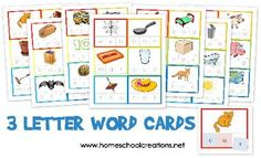 3 letter word cards for preschool alphabet - using this with our moveable alphabet