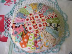 Sweet Scrappy Dresden Plate Pincushion Pillow by swingkitten
