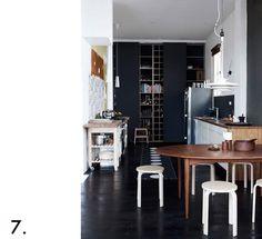 black floor, dark brown table, beige stools