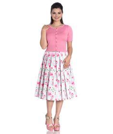 00f1f06f28c HELL BUNNY NATALIE rose FLORAL tartan 50s style PLEATED rockabilly SKIRT