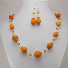Paper Beads  Necklace and Earring Set  Orange by DeederTheBeader