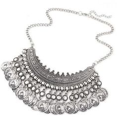 Gypsy Dance Statement Necklace - Silver