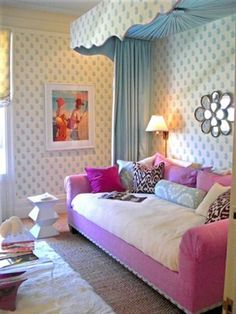 Day beds are a perfect transition from big girl room to teen room. So many ways to use them in a room to create the room you want. Purple Couch, Pink Sofa, Pink Bed, Girls Bedroom, Bedroom Decor, Bedroom Ideas, Bedroom Themes, Bedroom Inspiration, Casa Kids