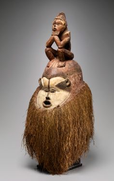 Africa | Helmet mask from the Suku people of Congo | Wood, raffia and pigment | ca. late 19th to early 20th century