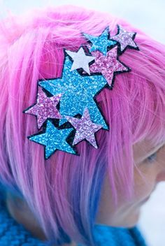 Turquoise and pink glitter stars hair piece! DIY