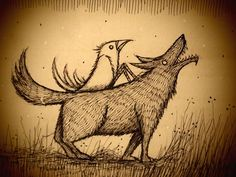 joncarling:  wolf and bird