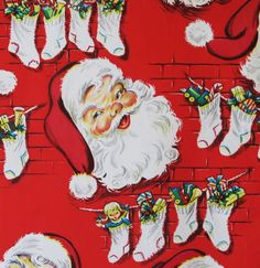 Vintage Ben-Mont Christmas Gift Wrap Wrapping Paper - Jolly SANTA - 1960s. $4.50, via Etsy.