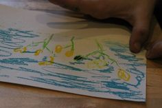 """""""We made a chalk pastel of buttercup flowers {because the rabbit's name is Buttercup}.""""  ~Homeschoolcreations.net"""